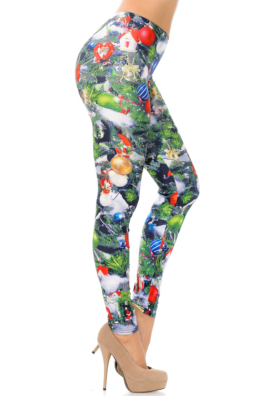 Right image view of Trimmed Up Christmas Tree Plus Size Leggings
