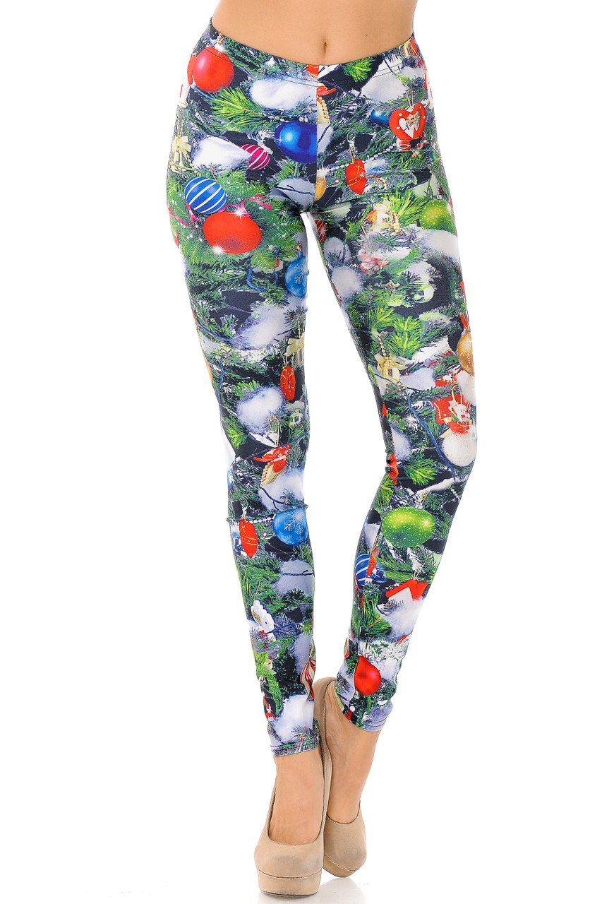 Front image view of mid rise Trimmed Up Christmas Tree Plus Size Leggings with an elastic waistband.