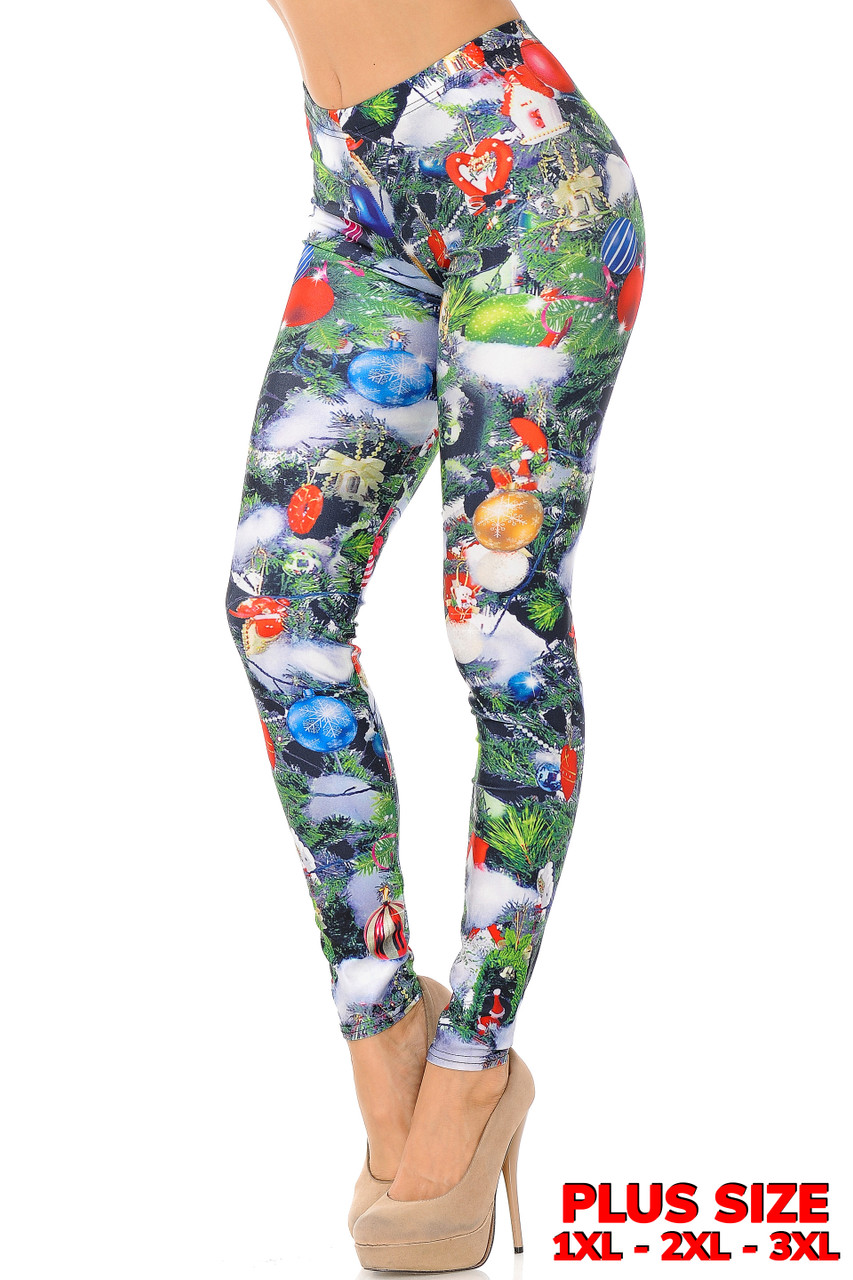 Partial front/left side view of Trimmed Up Christmas Tree Plus Size Leggings