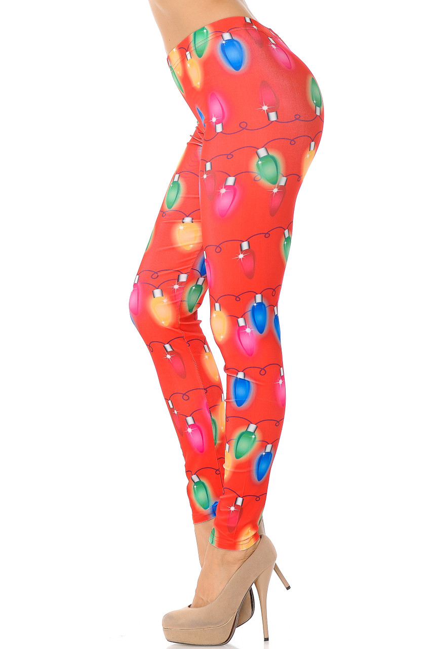 Right side leg image view of Ruby Red Colorful Christmas Lights Plus Size Leggings