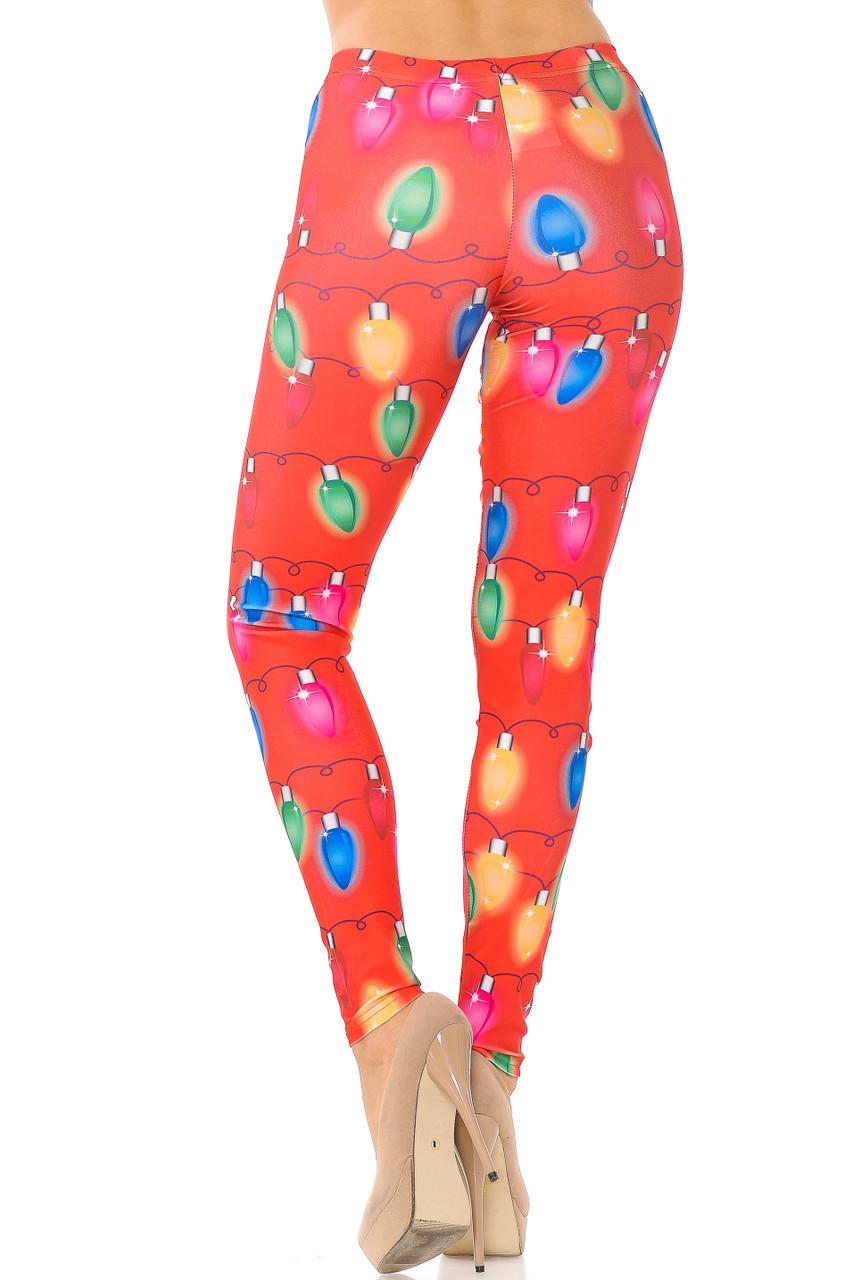 Rear view image of Ruby Red Colorful Christmas Lights Plus Size Leggings