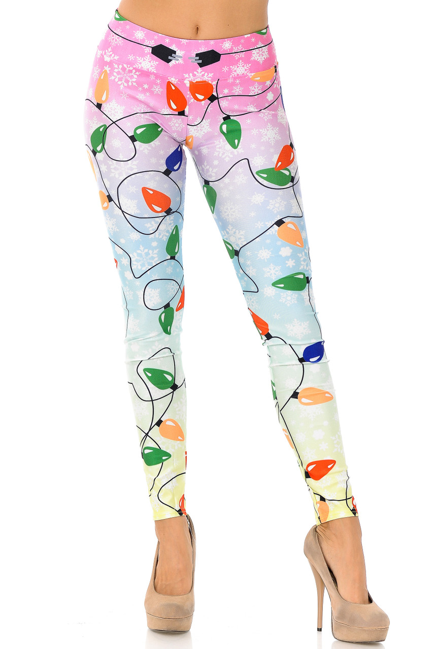 Front view of full length skinny cut Ombre Christmas Lights High Waisted Plus Size Leggings.