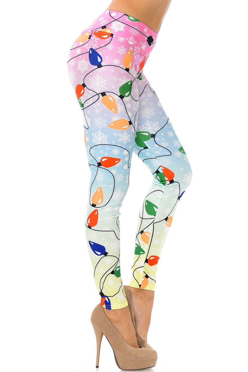 Right side view image of Ombre Christmas Lights High Waisted Plus Size Leggings