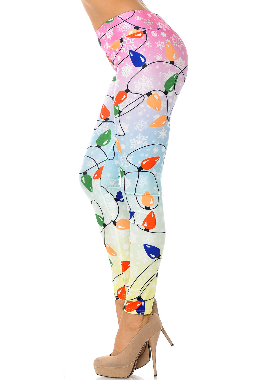 Left side view image of Ombre Christmas Lights High Waisted Plus Size Leggings