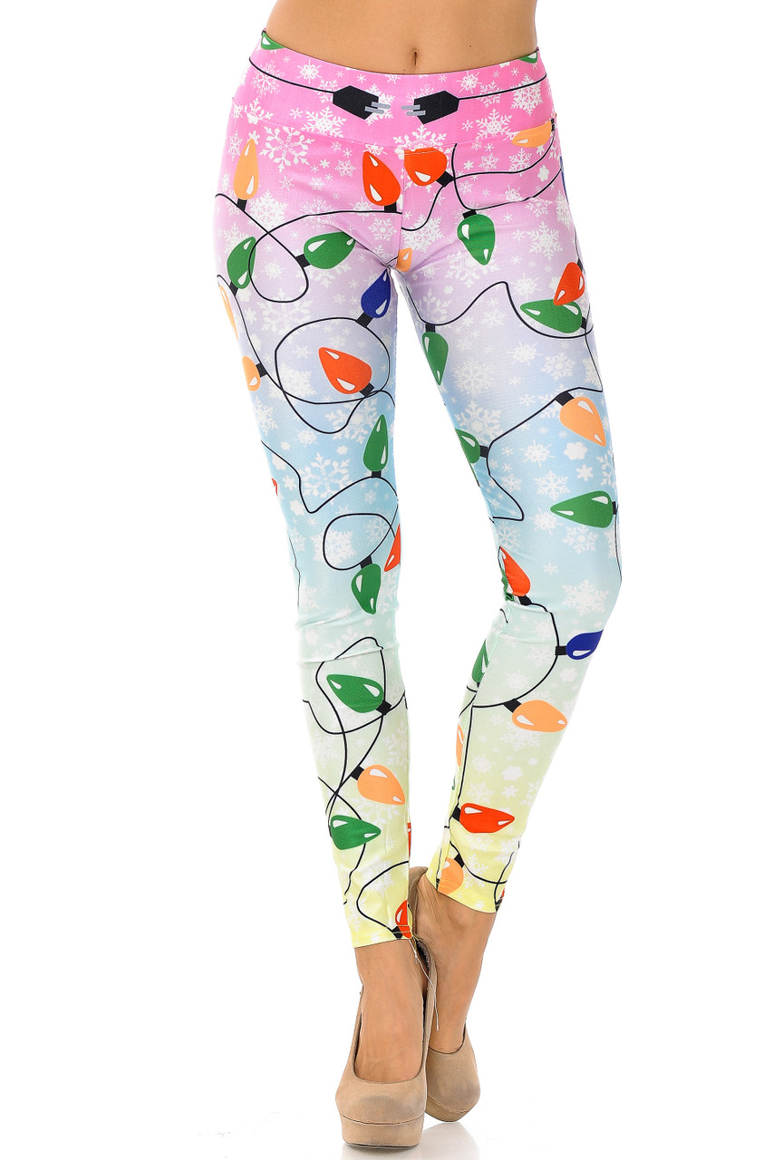 Front view of Ombre Christmas Lights High Waisted Plus SIze Leggings with a comfort fabric waistband.