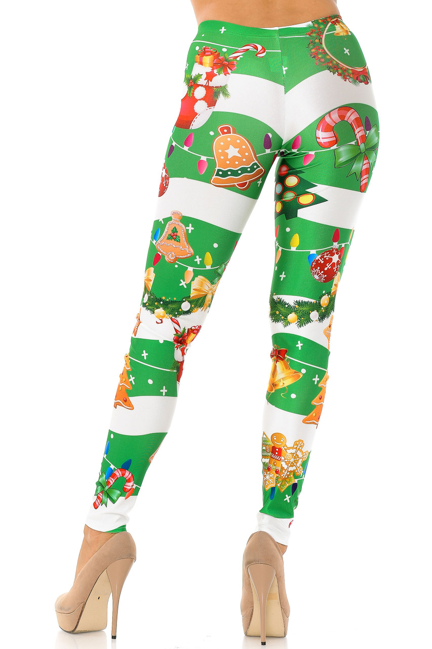 Back view of our ultra figure flattering body fitted Holiday Festive Green Christmas Garland Wrap Plus Size Leggings