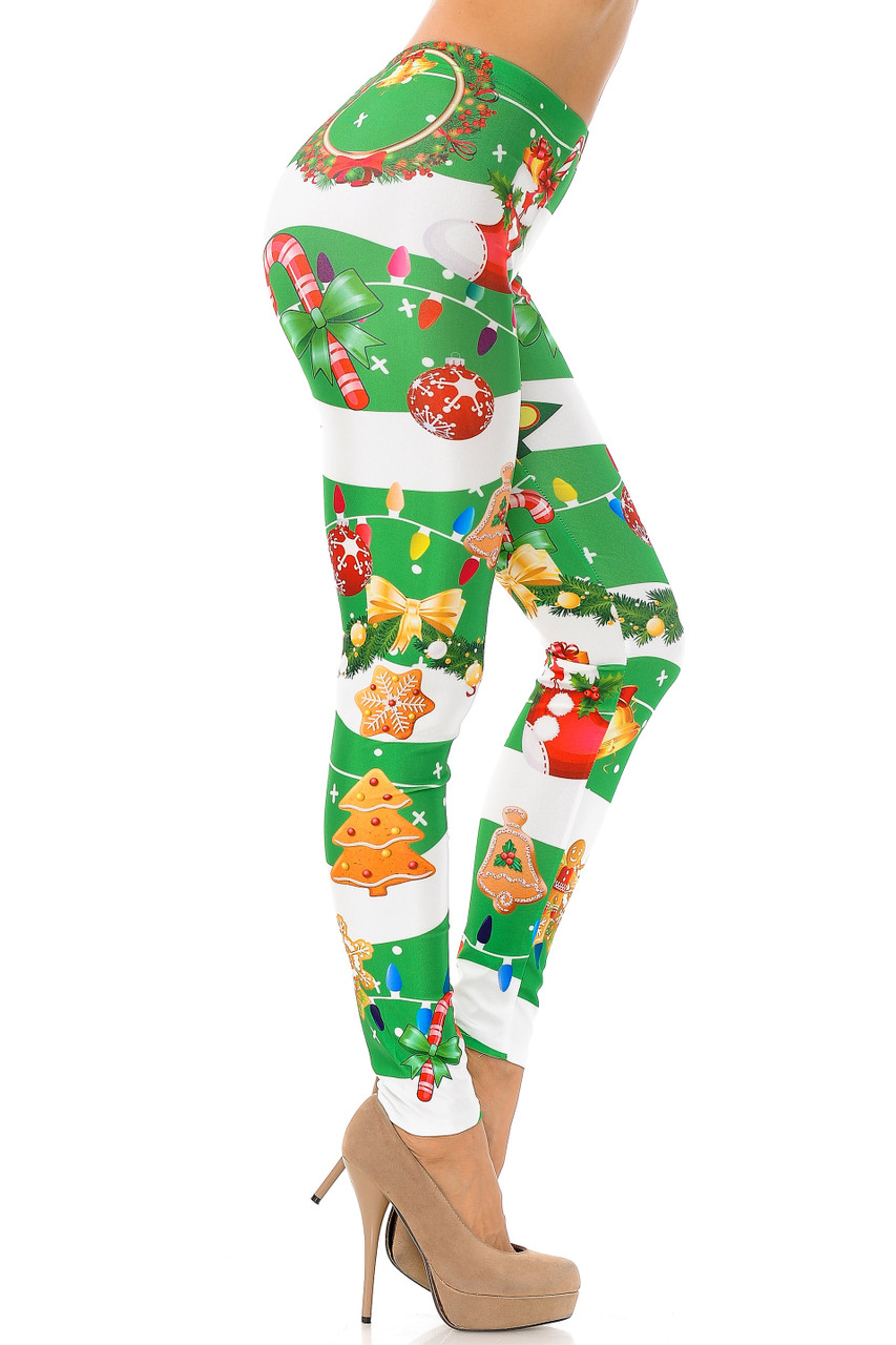 Right side view of Holiday Festive Green Christmas Garland Wrap Plus Size Leggings