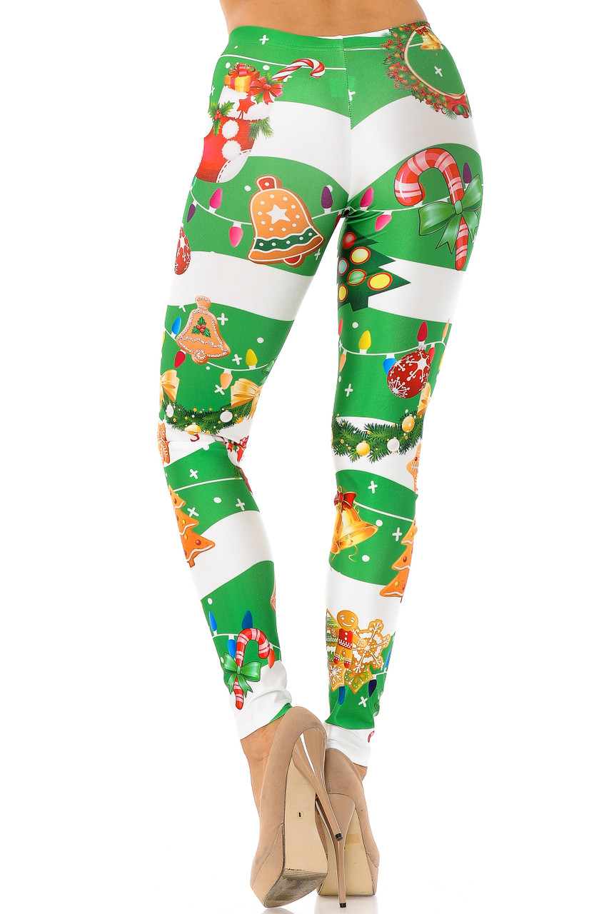 Back view of Holiday Festive Green Christmas Garland Wrap Plus Size Leggings