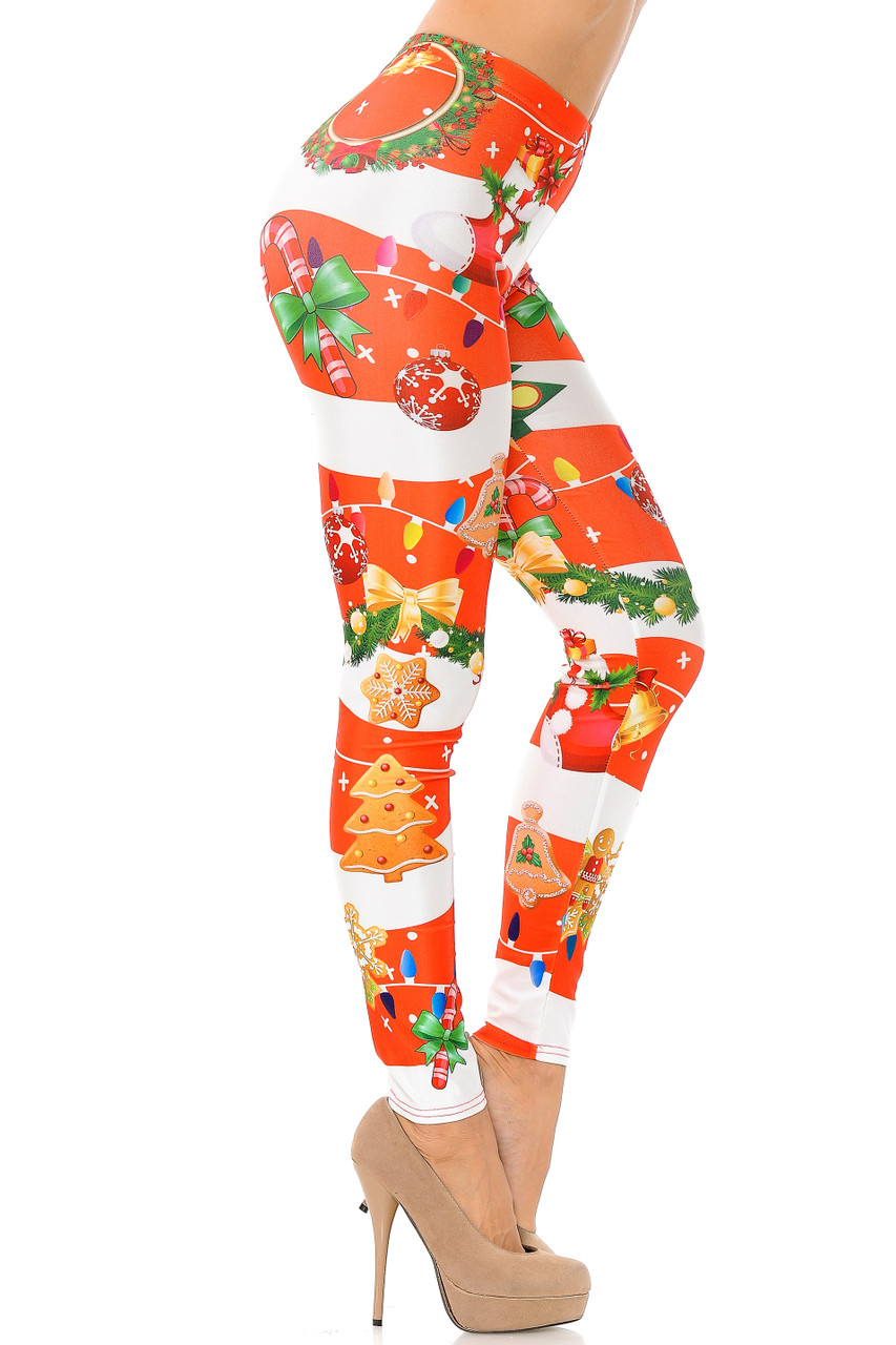 Right side view of Holiday Festive Red Christmas Garland Wrap Plus Size Leggings
