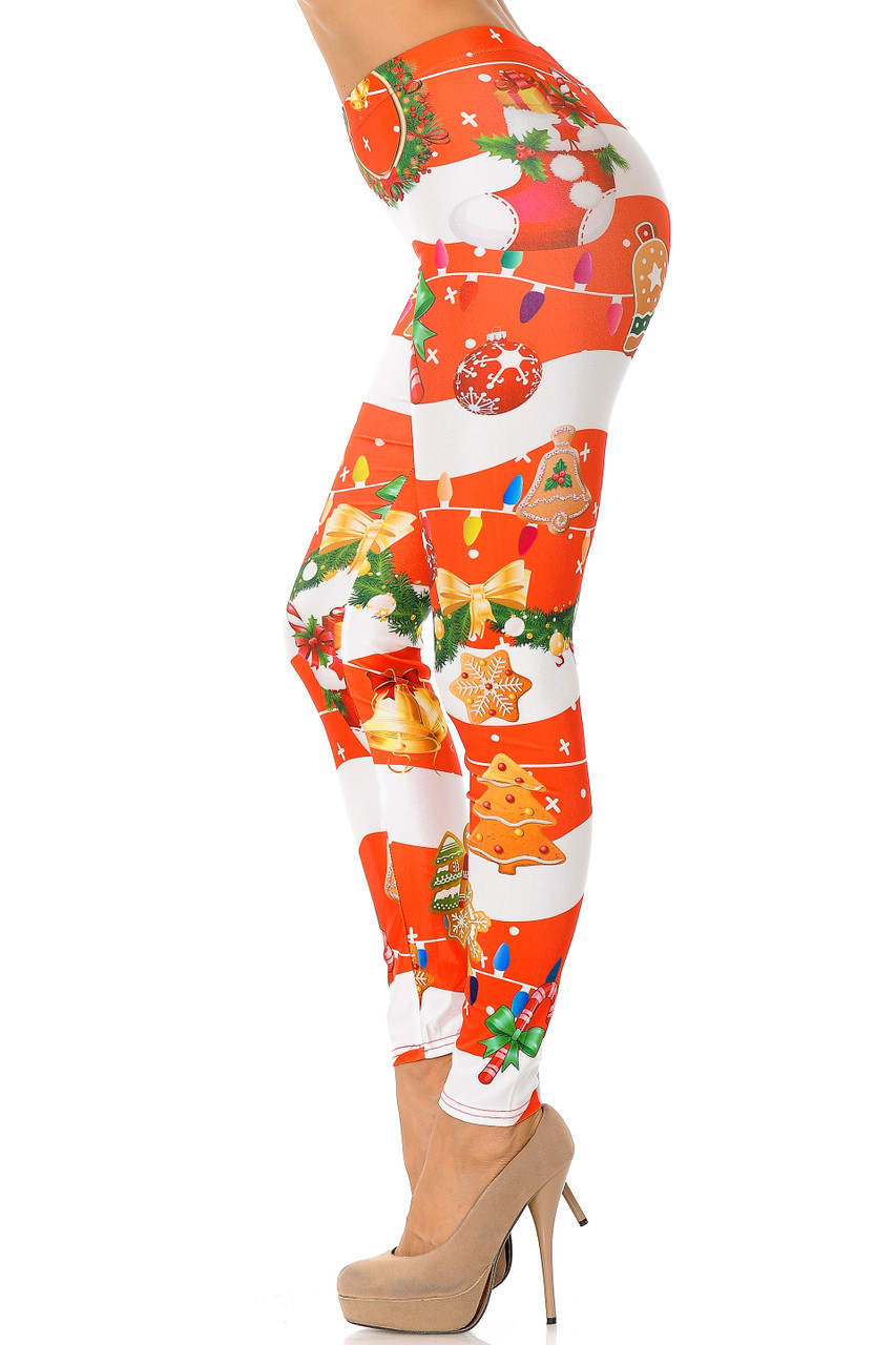 Left side view of Holiday Festive Red Christmas Garland Wrap Plus Size Leggings