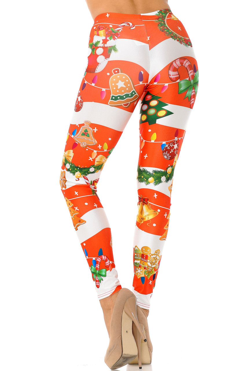 Back view of Holiday Festive Red Christmas Garland Wrap Plus Size Leggings