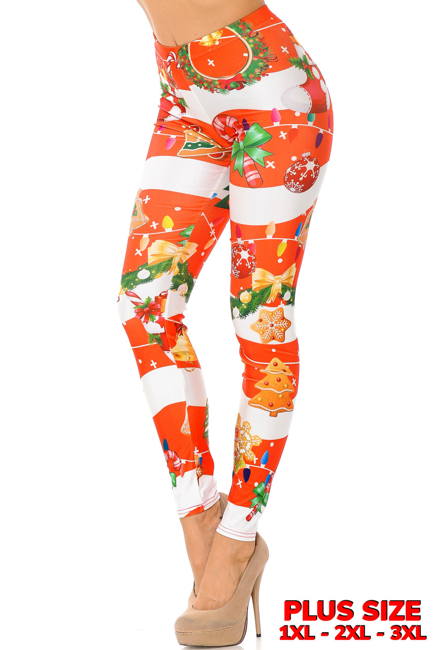 Left side vie of Holiday Festive Red Christmas Garland Wrap Plus Size Leggings with a thick red and white horizontal striped background decorated with festive touched like wreaths, colorful string light, and Christmas cookies.