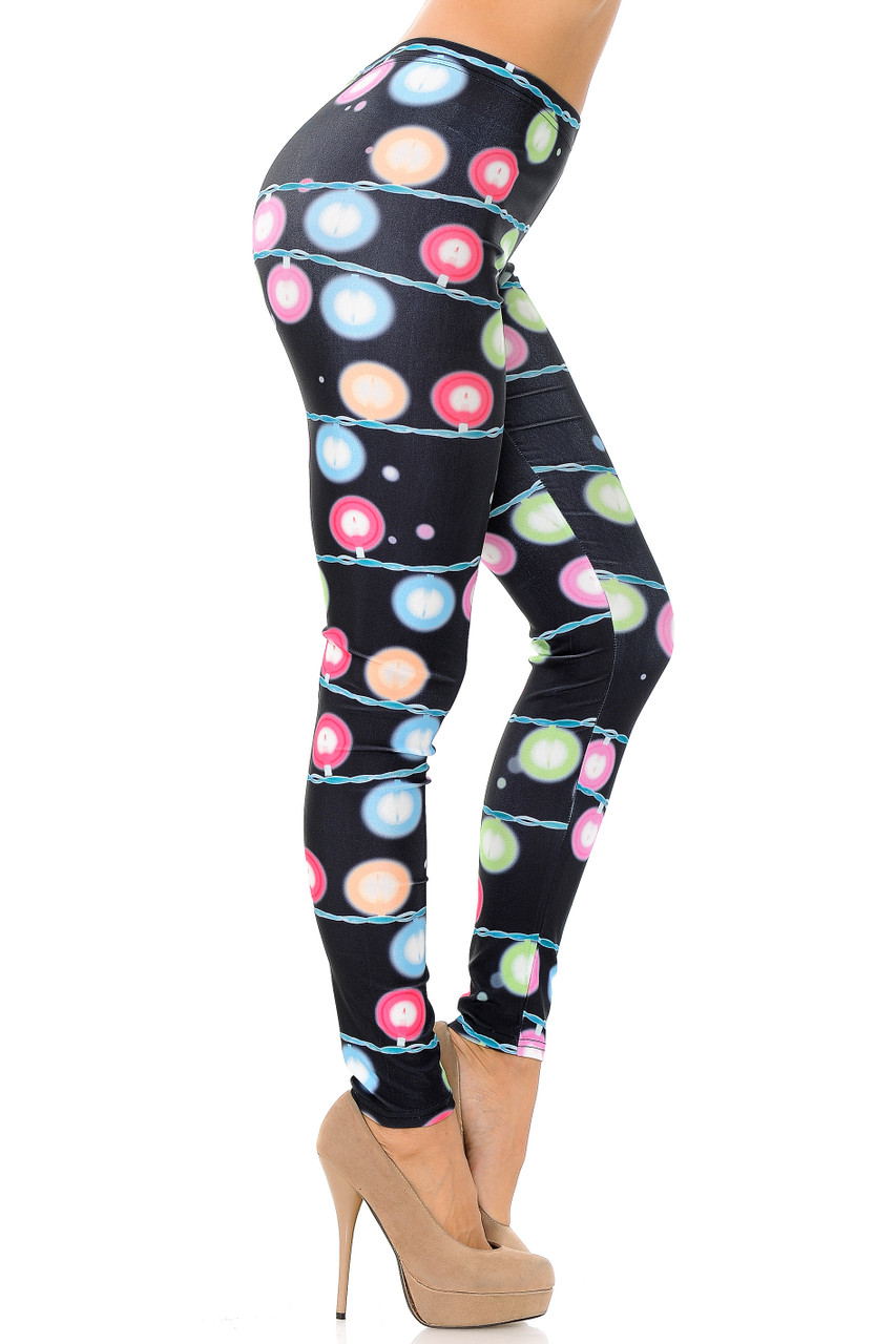 Right view of Festive Holiday Lights Leggings - Plus Size