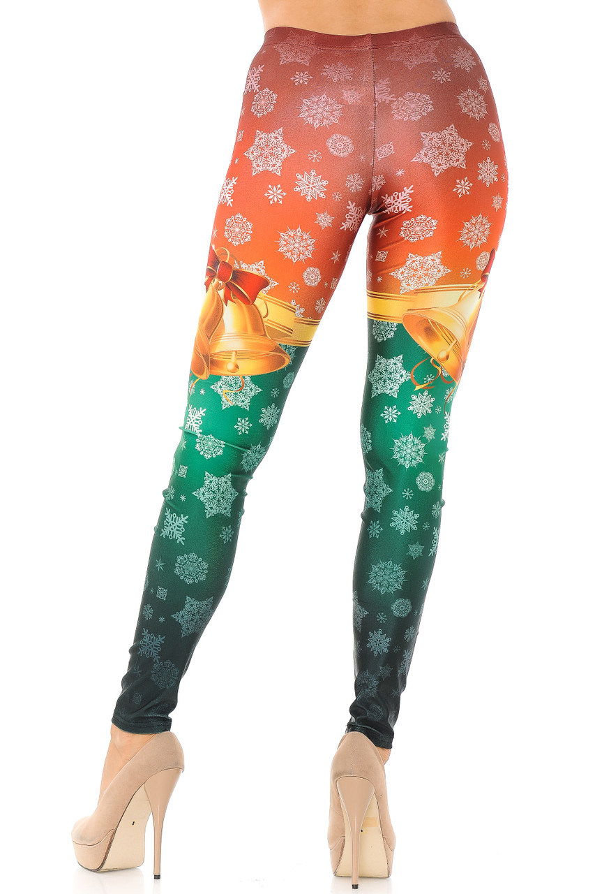 Back view image of our flattering figure hugging Festive Red and Green Split Christmas Bells Plus Size Leggings