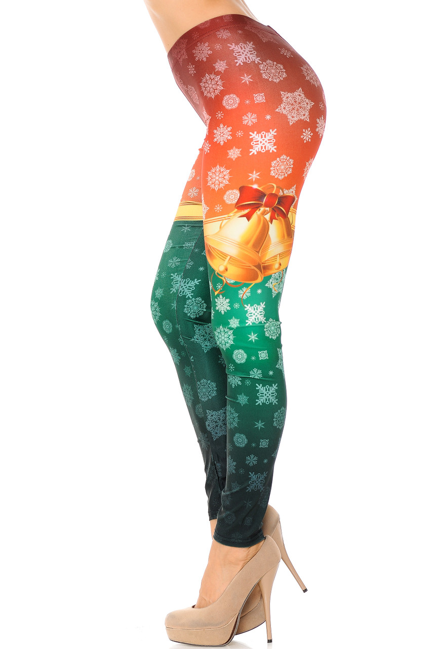 Left side view image of Festive Red and Green Split Christmas Bells Plus Size Leggings