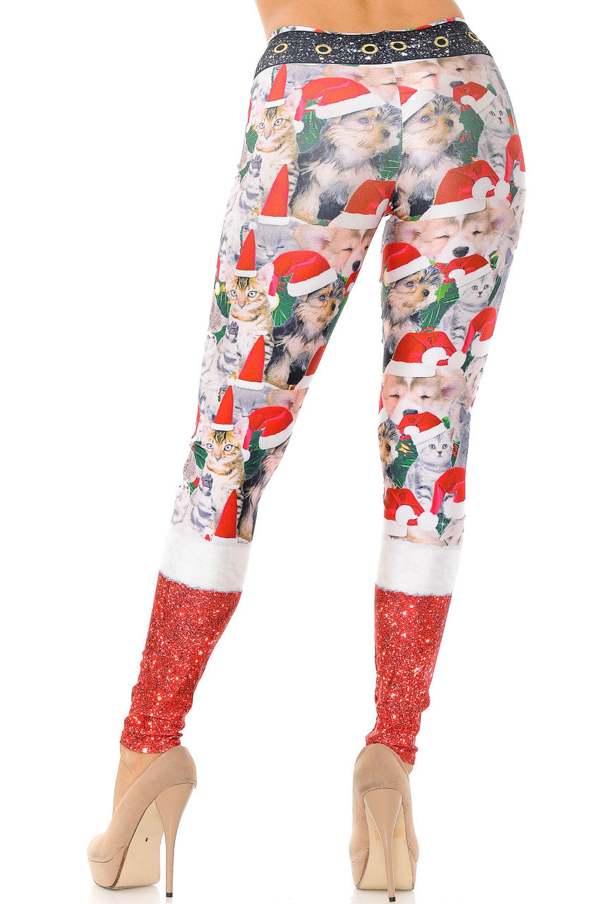 Back view of our figure flattering body hugging Jolly Christmas Cats and Dogs Plus Size Leggings