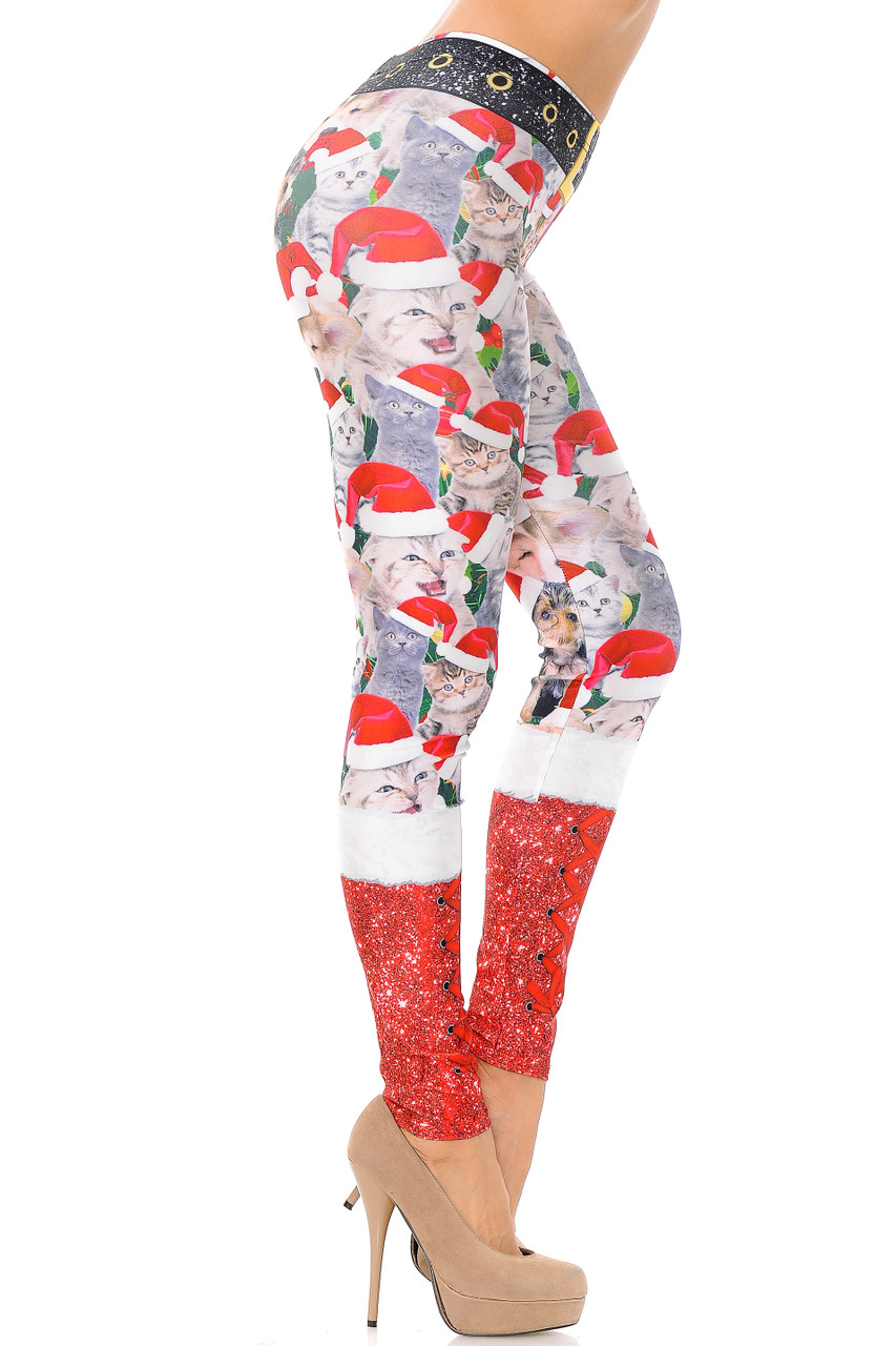 Right side view image of Jolly Christmas Cats and Dogs Plus Size Leggings