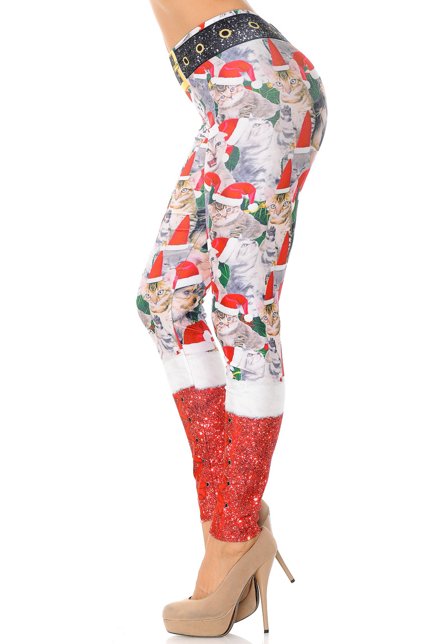 Left side view image of Jolly Christmas Cats and Dogs Plus Size Leggings