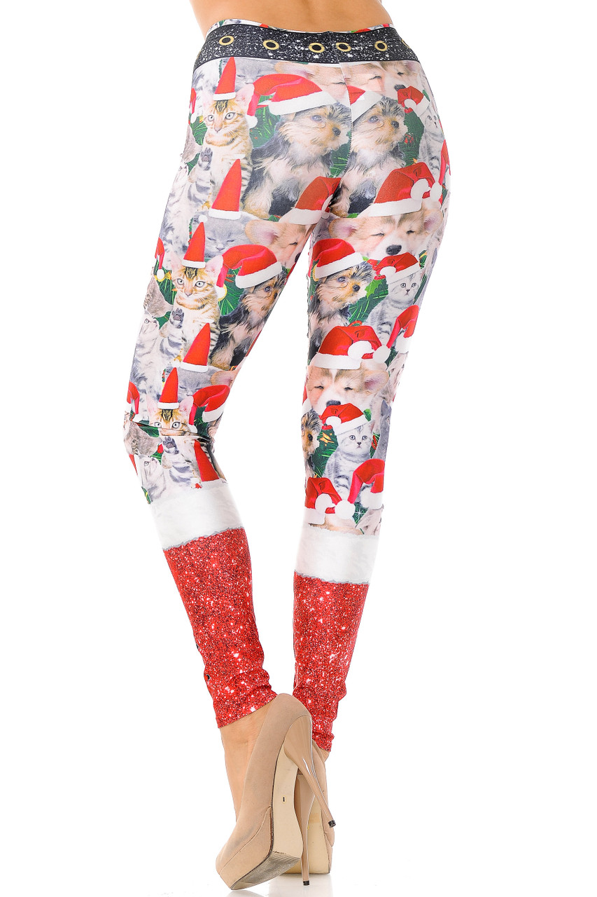 Back view of Jolly Christmas Cats and Dogs Plus Size Leggings