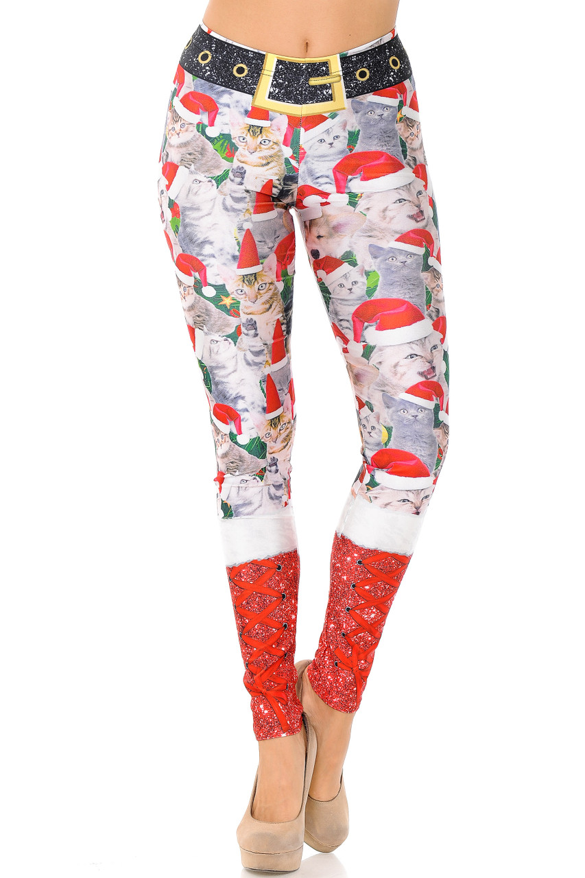 Front view of mid rise Jolly Christmas Cats and Dogs Plus Size Leggings with an elastic waist.
