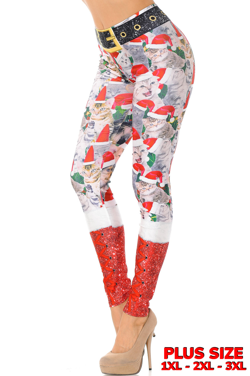 Our super sassy and silly Jolly Christmas Cats and Dogs Plus Size Leggings feature a collage of cats in santa hats with a faux red glittery boot look that covers the calved, and a glitter printed on black belt design.