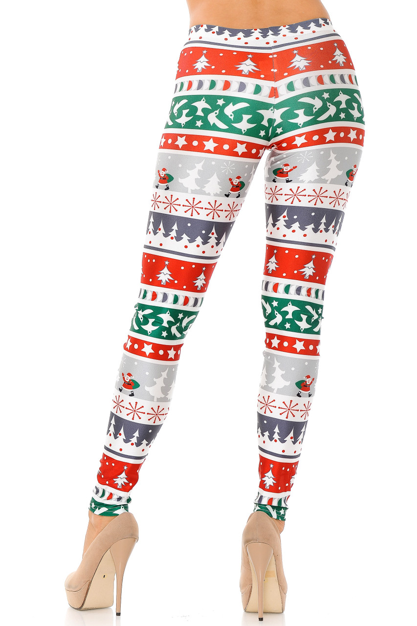 Back view of Festive Holiday Country Christmas Plus Size Leggings showcasing their flattering body hugging fit.