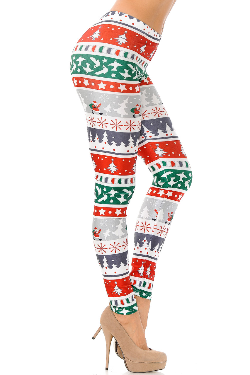 Right side view image of Festive Holiday Country Christmas Plus Size Leggings