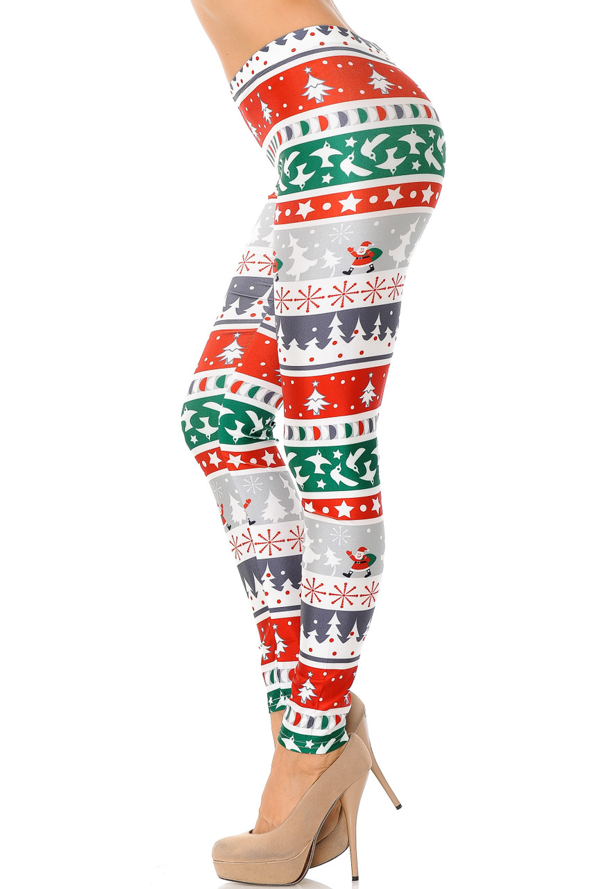 Left side view image of Festive Holiday Country Christmas Plus Size Leggings