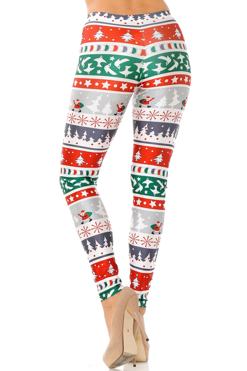 Back view of Festive Holiday Country Christmas Plus Size Leggings