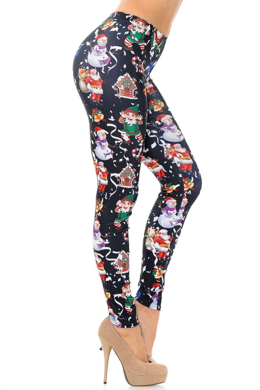 Right side view image of Black Wonderful Festive Christmas Plus Size Leggings