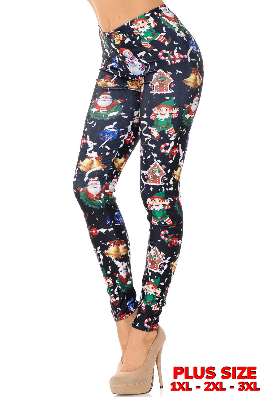 Left side view of Black Wonderful Festive Christmas Plus Size Leggings featuring a white background with cartoon santa, elves, snowmen, and blue confetti.