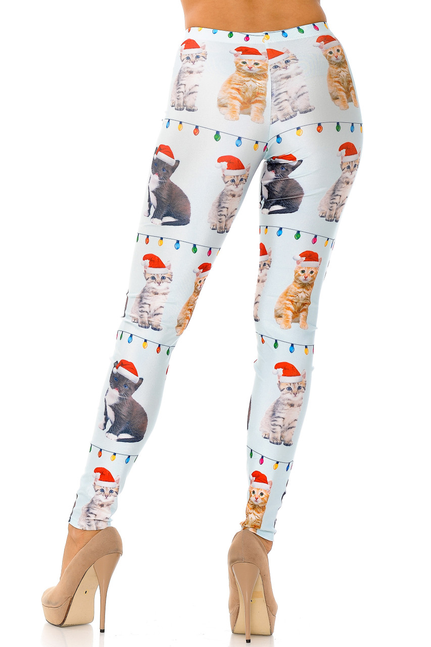 Back view image of Cats in Hats Christmas Plus Size Leggings featuring a full length skinny leg cut.