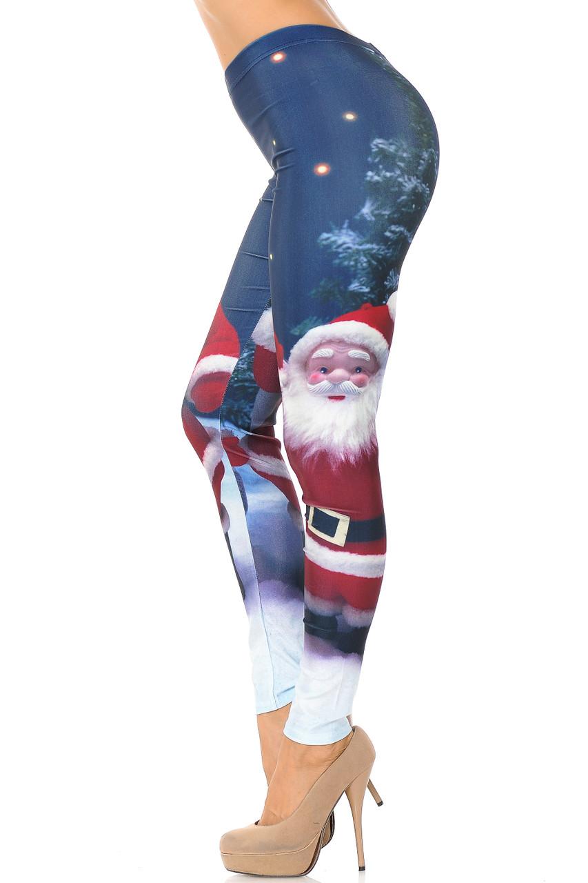 Left side view image of Santa Claus Leggings - Plus Size