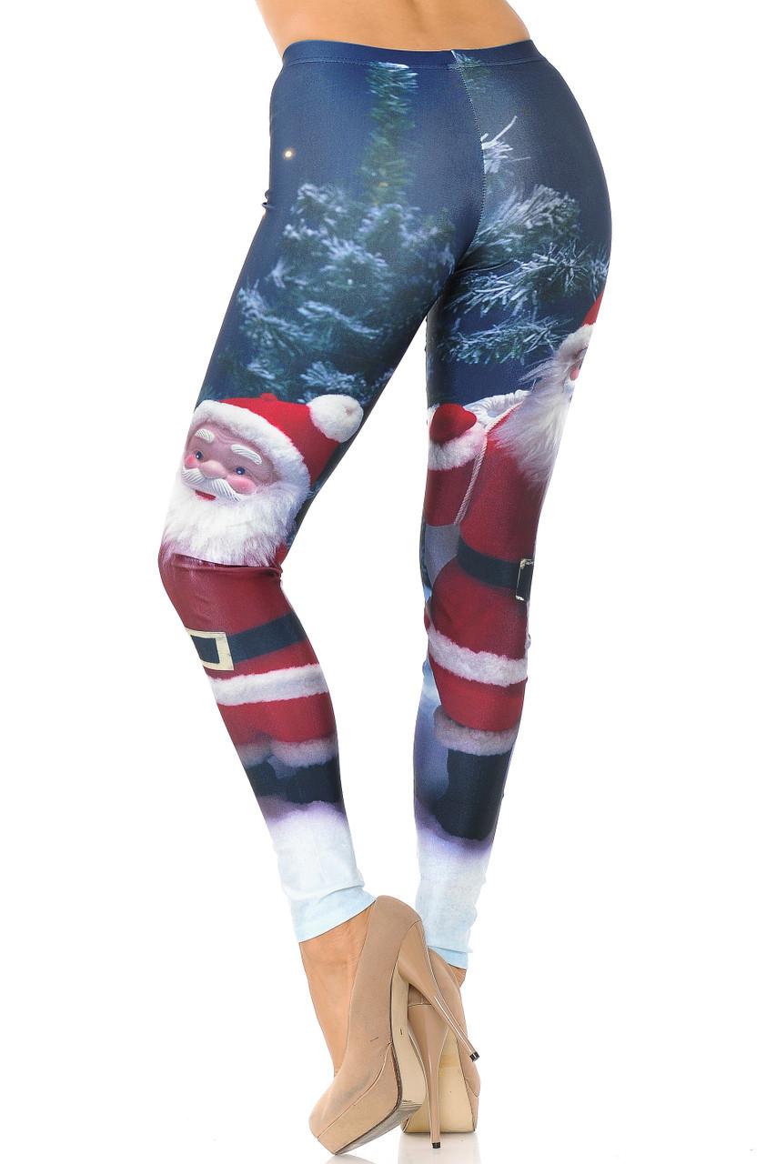Rear view image of full lengthSanta Santa Claus Leggings - Plus Size