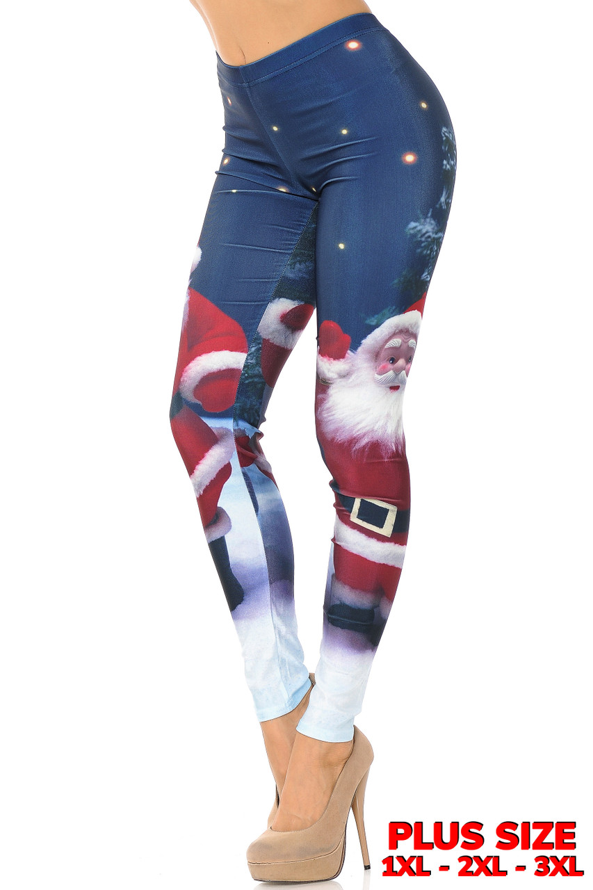 Left view image ofMain Front Santa Claus Plus Size Leggings featuring a big bold image of santa against a dark blue night sky.