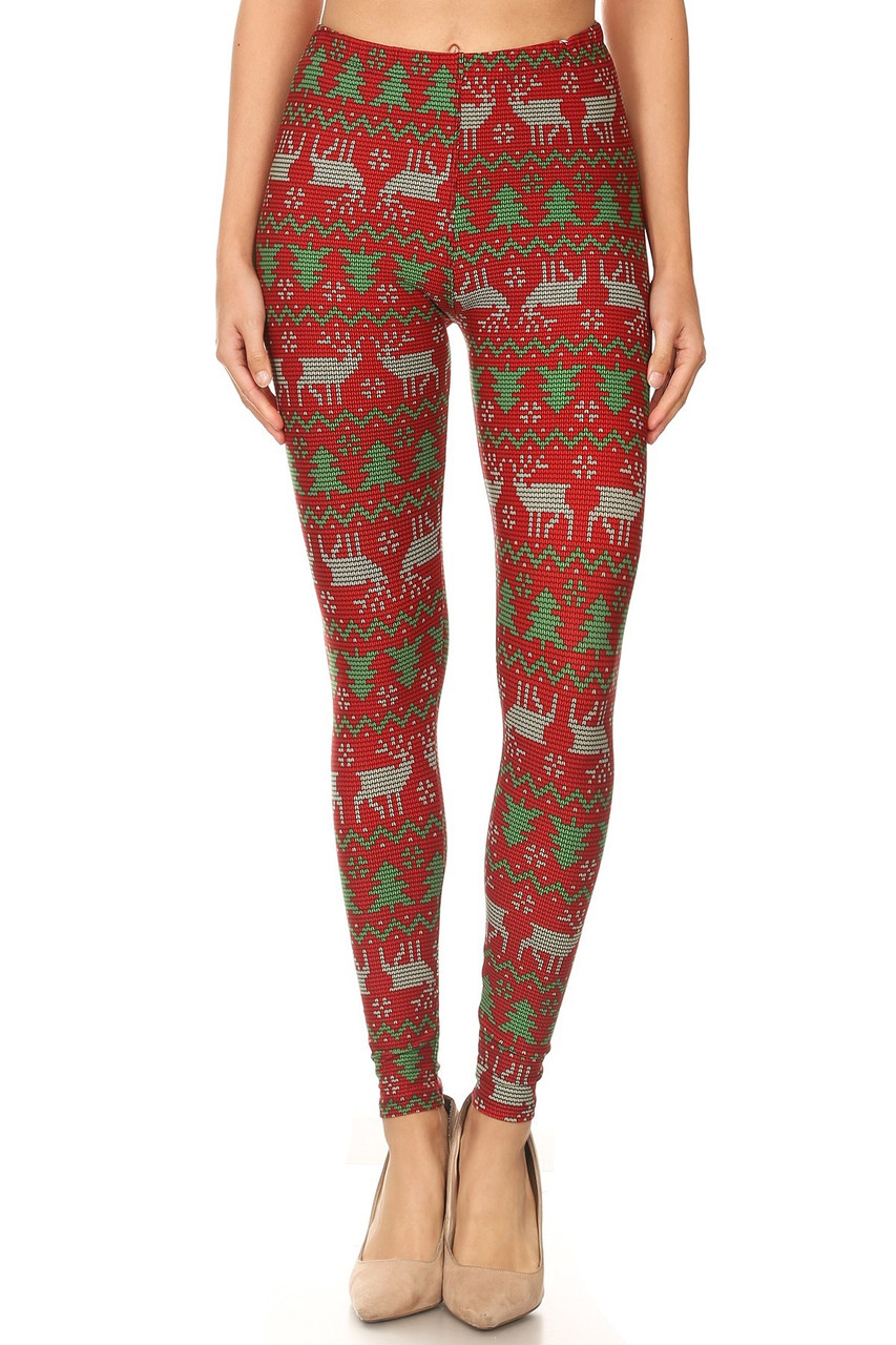 With a cool printed on knit sweater look these Buttery Soft Faux Knit Reindeer and Holiday Tree Leggings feature a red background with a cute reindeer and Christmas Tree design.