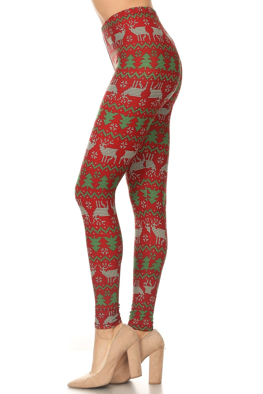 Left side view image of Buttery Soft Faux Knit Reindeer and Holiday Tree Leggings