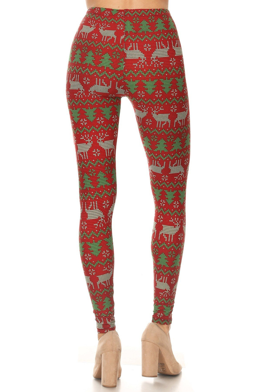 Back view image of our flattering figure-hugging Buttery Soft Faux Knit Reindeer and Holiday Tree Leggings