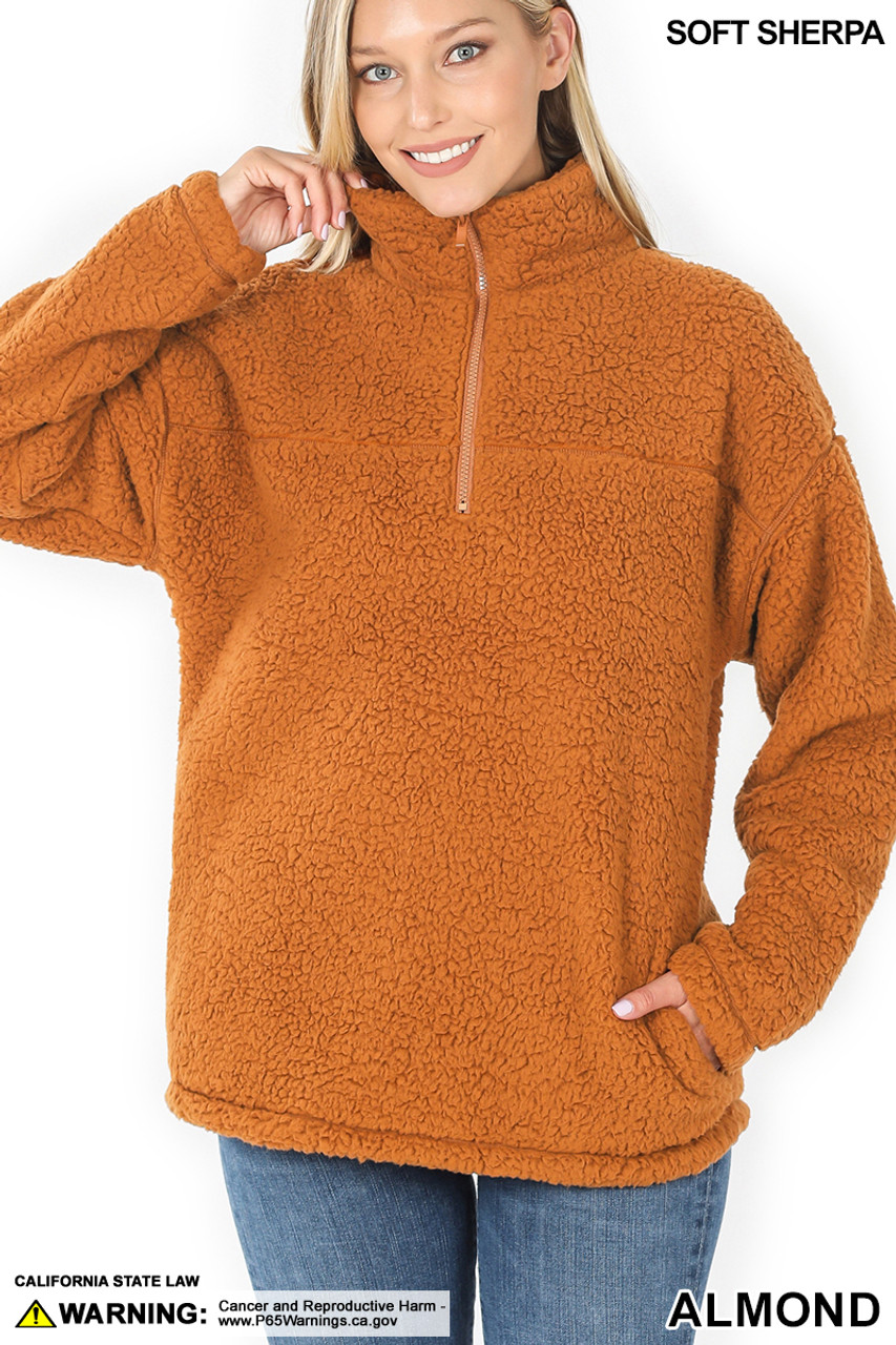 Front image of Almond Sherpa Half Zip Pullover with Side Pockets