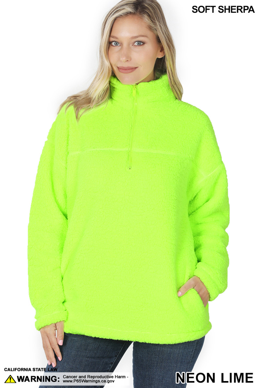 Front image of Neon Lime Sherpa Half Zip Pullover with Side Pockets