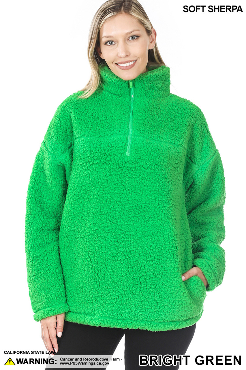 Front image of Bright Green Sherpa Half Zip Pullover with Side Pockets