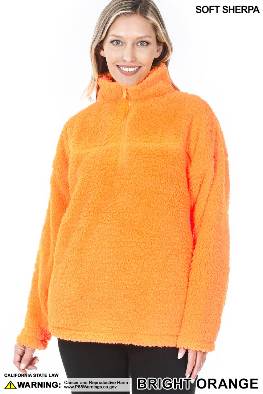 Front image of Bright Orange Sherpa Half Zip Pullover with Side Pockets