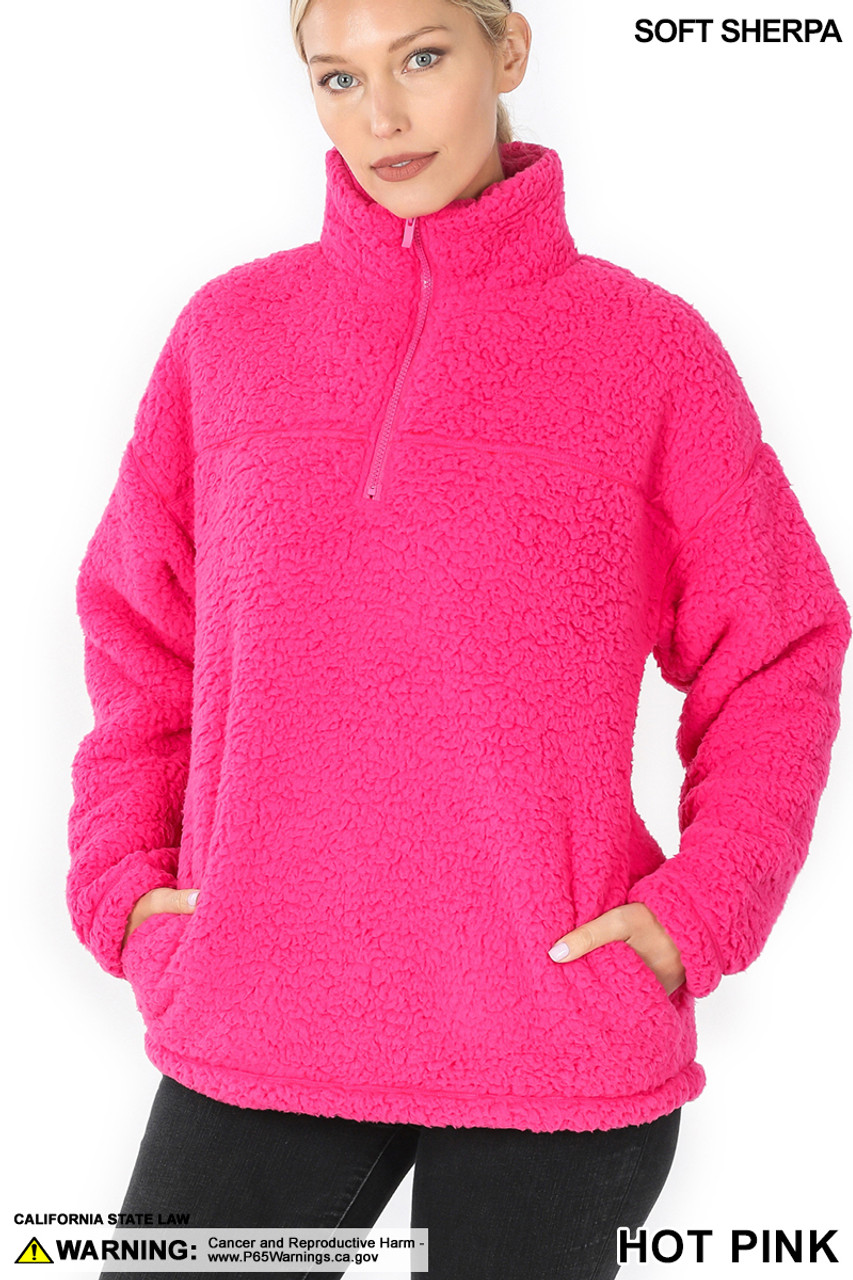 Front image of Hot Pink Sherpa Half Zip Pullover with Side Pockets