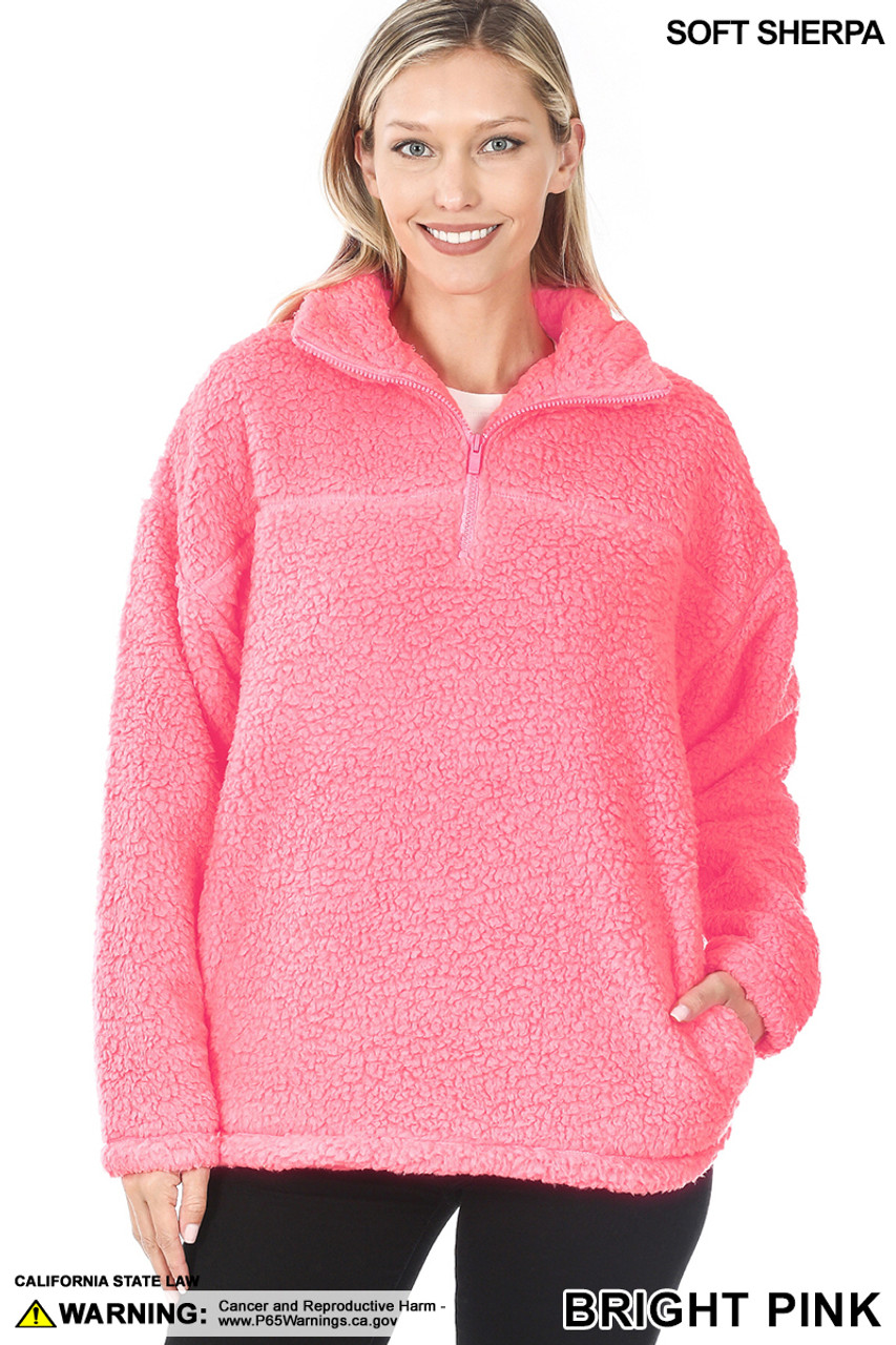 Front image of Bright Pink Sherpa Half Zip Pullover with Side Pockets