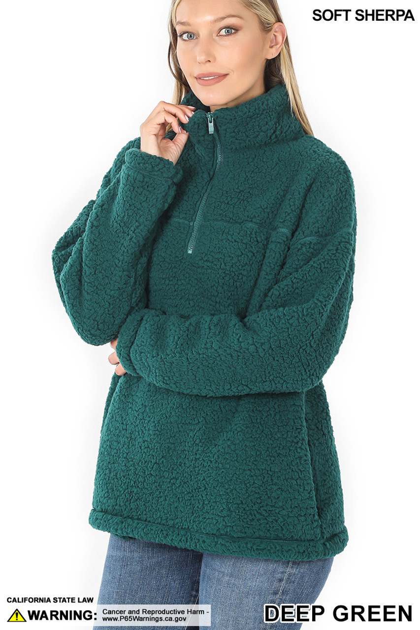 45 degree image of Deep Green Sherpa Half Zip Pullover with Side Pockets