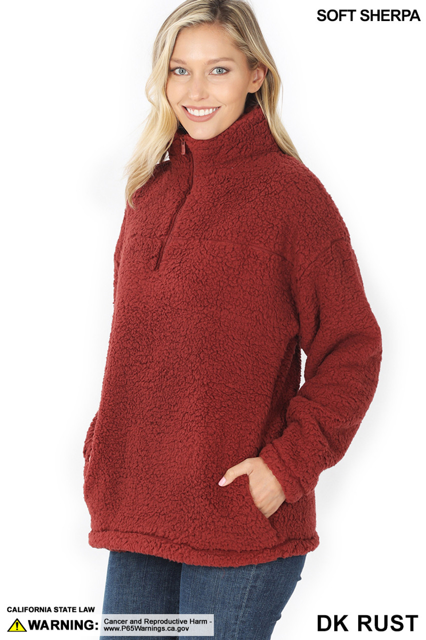45 degree image of Dark Rust Sherpa Half Zip Pullover with Side Pockets