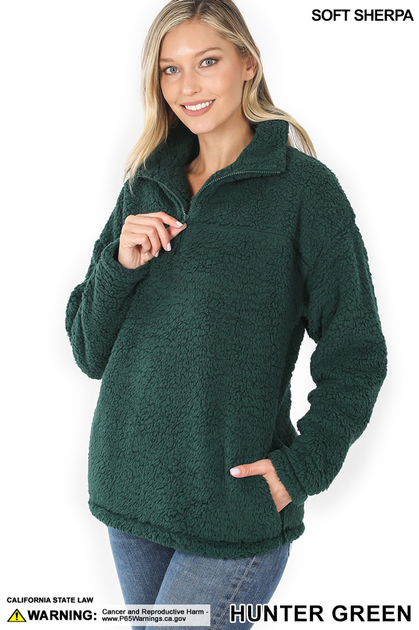 Slightly turned image of Hunter Sherpa Half Zip Pullover with Side Pockets