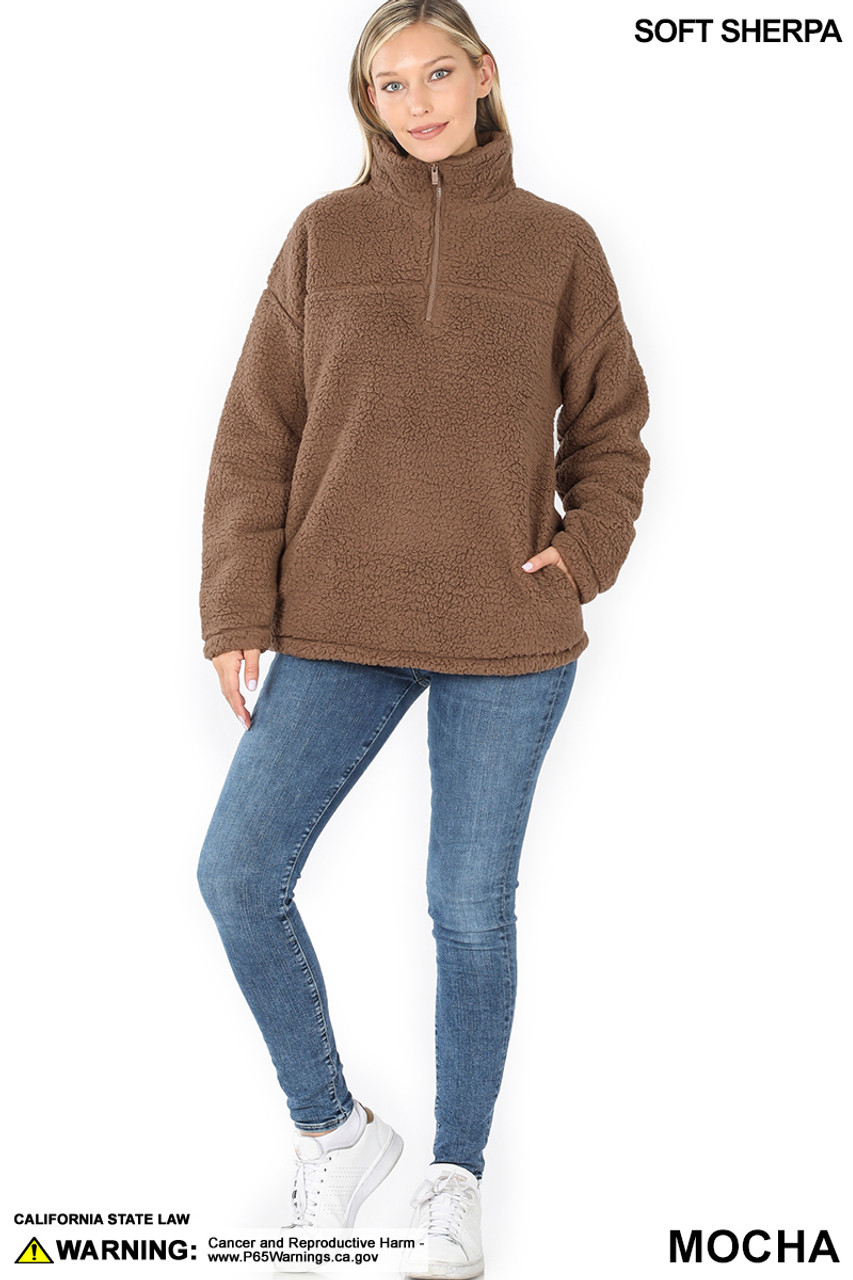 Full body image of Mocha Sherpa Half Zip Pullover with Side Pockets