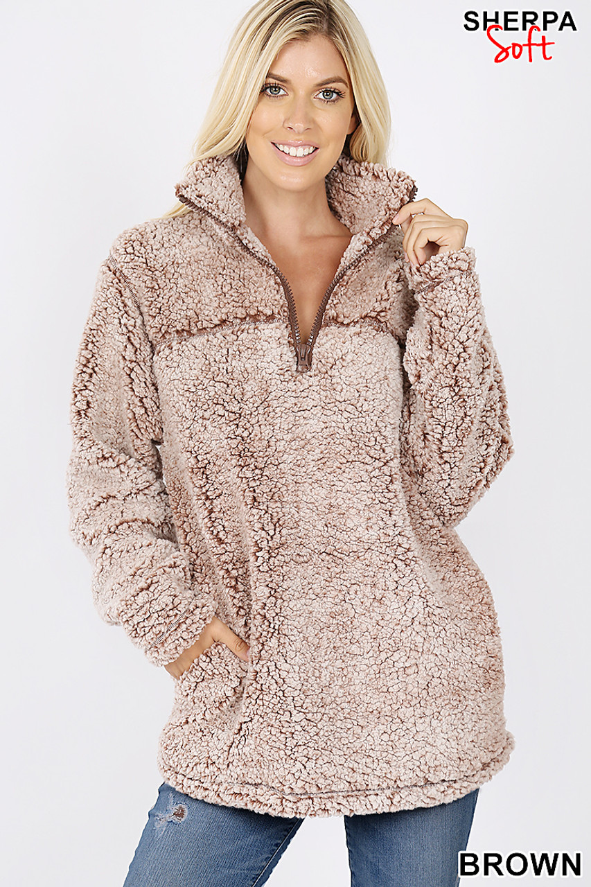 Front image view of Brown Popcorn Sherpa Half Zip Pullover with Side Pockets