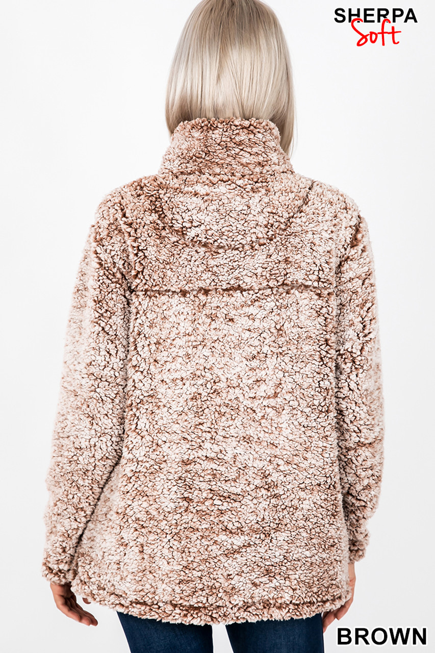 Back image view of Brown Popcorn Sherpa Half Zip Pullover with Side Pockets